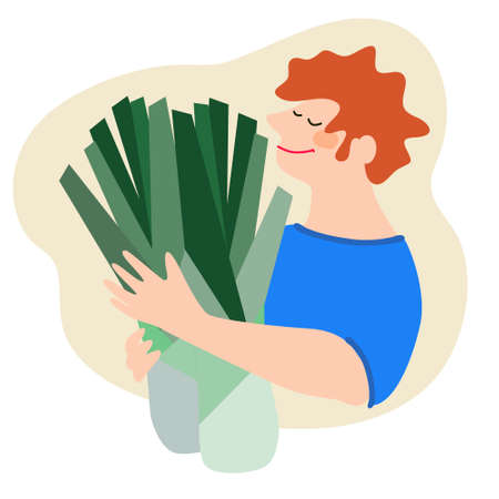 Funny happy man holding leek. Humorous vector illustration in trendy flat style. Harvesting, fresh vegetables delivery, agritourism concepts