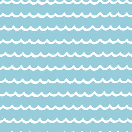 Seamless repeating pattern with hand drawn wavy lines on blue background for surface design and other design projects