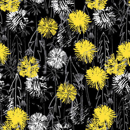 Seamless pattern with hand drawn dandelion flowers for surface design and other design projects. Monochrome line art, black background