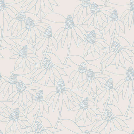 Seamless delicate blue pattern with hand drawn Echinacea flowers for surface design and other design projects