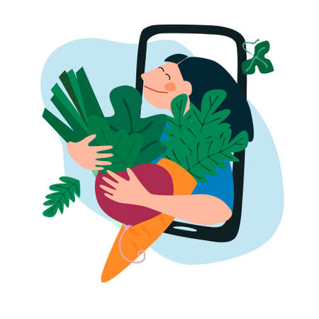 Fresh vegetables delivery concept. Buy online concept. Friendly woman passing carrot and beetroot through phone screen. Vector illustration in trendy flat style
