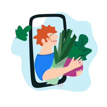 Fresh vegetables delivery concept. Buy online concept. Friendly man passing leek and beetroot through phone screen. Vector illustration in trendy flat style