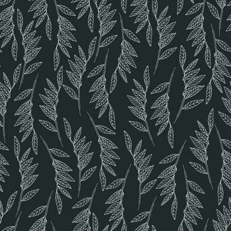 Seamless pattern with willow tree branches and leaves on black background for surface design and other design projects. Monochrome realistic line art