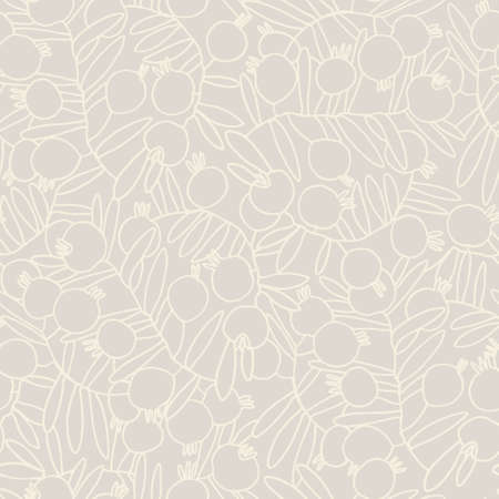 Seamless pattern. Pomegranate tree branches with fruit. Outlined monochrome vector illustration for surface design and other design projects
