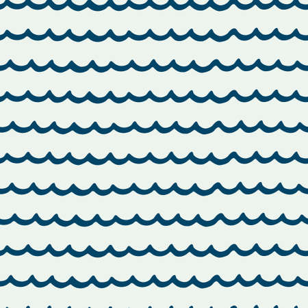 Seamless repeating pattern with hand drawn wavy lines on ligth blue background for surface design and other design projects