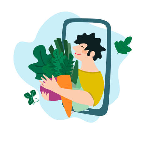 Fresh vegetables delivery concept. Buy online concept. Friendly man passing carrot, beetroot, leek through phone screen. Vector illustration in trendy flat style