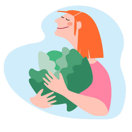 Happy woman holding giant white cabbage. Humorous vector illustration in trendy flat style. Harvesting, fresh vegetables delivery, agritourism concepts