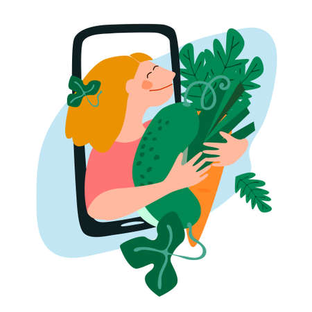 Fresh vegetables delivery concept. Buy online concept. Friendly woman passing giant carrot, cucumber, leek through phone screen. Vector illustration in trendy flat style