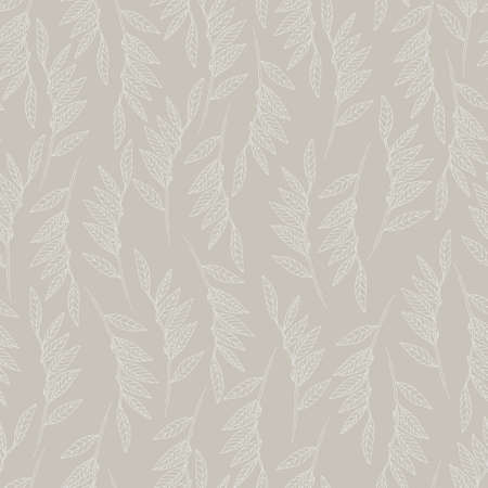 Seamless pattern with willow tree branches and leaves on light blue background for surface design and other design projects. Monochrome realistic line art Ilustração