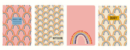 Cover page templates based on seamless patterns with stylized rainbows. Headers isolated and replaceable. Background for school notebooks, notepads, diaries