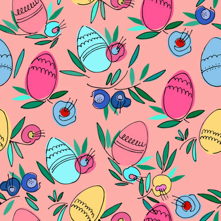 Seamless pattern on Easter theme with colored eggs, flowers, leaves on pink background