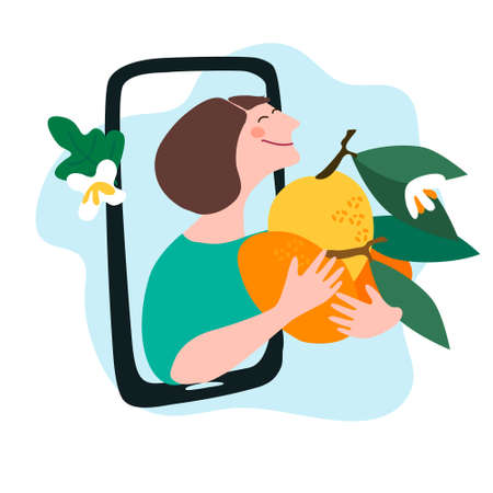 Fresh fruit delivery concept. Buy online concept. Friendly woman passing giant lemon, mandarin through mobile phone screen. Vector illustration in trendy flat style