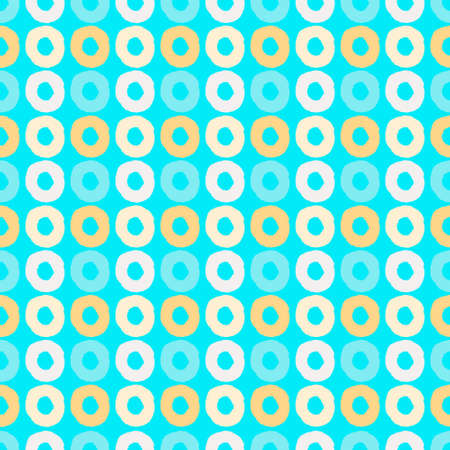 Seamless geometric pattern with hand drawn uneven multicolored circles for wrapping paper design, surface design and other design projects Ilustração