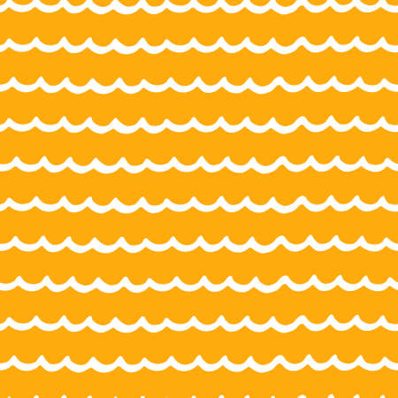 Seamless repeating pattern with hand drawn wavy lines on orange background for surface design and other design projects Ilustração