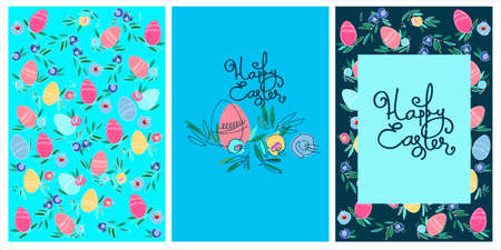 Set of Easter holiday designs, greeting cards, patterns, with hand lettering, flowers and eggs Ilustração