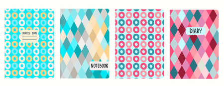 Cover page templates based on seamless patterns with circles, rhombuses. Background for notebooks, notepads, diaries