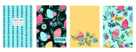 Cover page templates based on patterns with Easter eggs, flowers, spiral lines. For notebooks, diaries