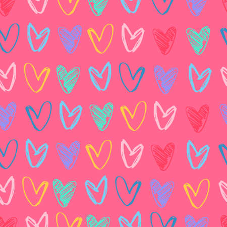 Seamless pattern with rows of hand drawn multicolored heart shapes on pink background. Love, Valentines Day concept Ilustração