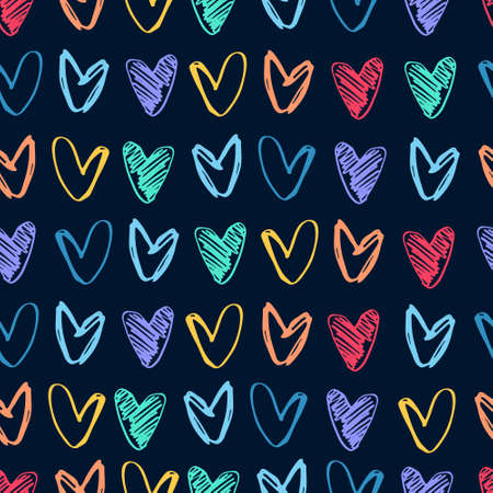 Seamless pattern with rows of hand drawn multicolored heart shapes on black background. Love, Valentines Day concept