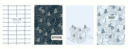 Cover page vector templates with Echinacea flowers, grid pattern. Headers isolated and replaceable