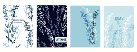 Cover page vector templates with lavender branches. Headers isolated and replaceable Ilustração