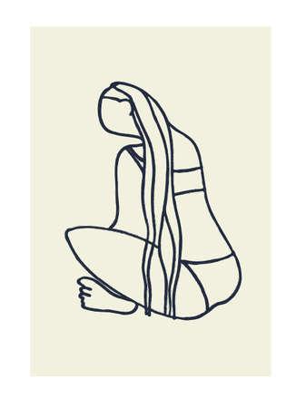 Decor printable art. Hand drawn outlined vector illustration of long-haired woman in bikini, sitting cross-legged Ilustração