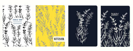 Cover page vector templates with lavender branches. Headers isolated and replaceable Imagens
