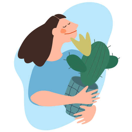 Woman holding cactus. Flat vector illustration. Indoor plants growing, selling, delivery and care service concept Ilustração