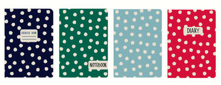 Cover page vector templates based on rustic polka-dot seamless patterns. Headers isolated and replaceable