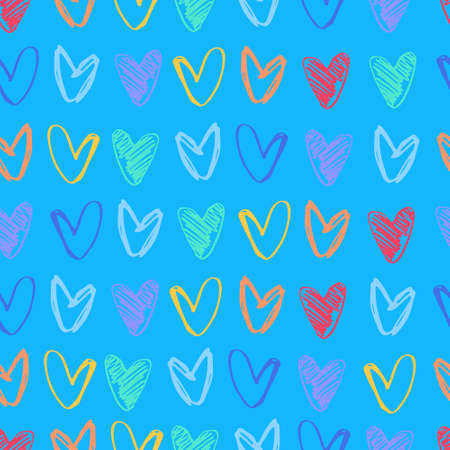 Seamless pattern with rows of hand drawn multicolored heart shapes on blue background. Love, Valentines Day concept