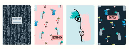 Cover page vector templates with hand drawn surreal female faces, brushstrokes. Headers isolated and replaceable