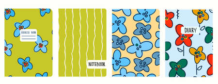 Cover page vector templates with flowerheads and wavy lines. Headers isolated and replaceable