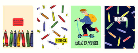 Cover page vector templates with illustrations of schoolboy riding scooter, pencil set. Headers isolated and replaceable