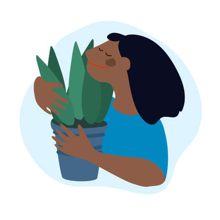 Woman holding Sansevieria plant. Flat illustration. Indoor plants growing, selling, delivery, care service concept
