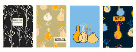 Cover page vector templates with vases and dried plants. Headers isolated and replaceable Ilustração
