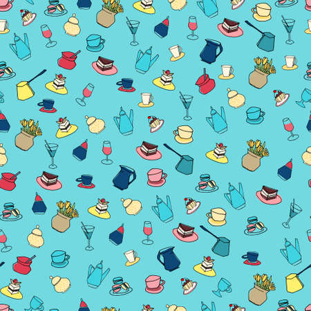Seamless pattern made of cafe objects on blue background