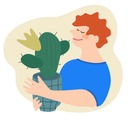Friendly man holding cactus. Flat vector illustration. Indoor plants growing, selling, delivery and care service concept