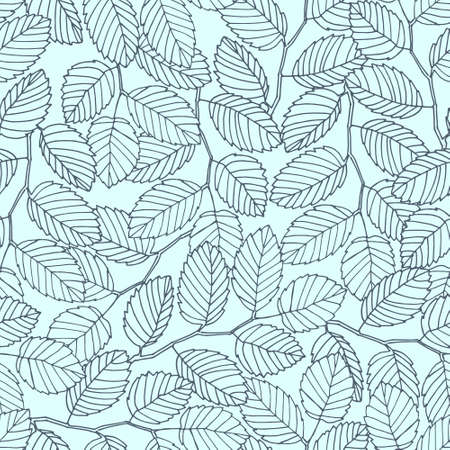 Seamless pattern with elm tree branches and leaves for surface design and other design projects