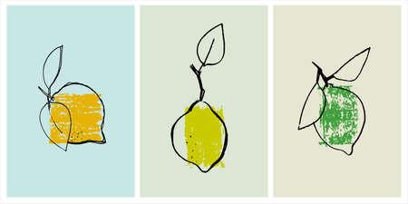 Decor printable art. Set of hand drawn vector illustrations of lemons Ilustração