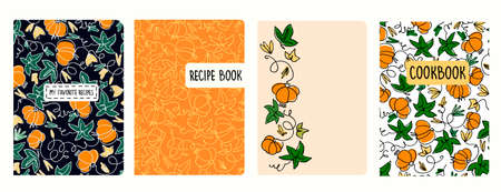 Cover page templates for recipe books based on seamless patterns with pumpkins. Headers isolated and replaceable