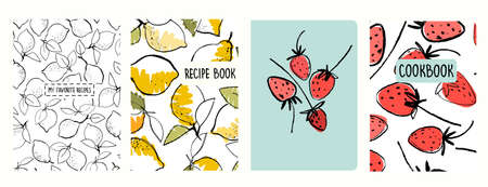 Cover page templates for recipe books based on seamless patterns with lemons and strawberries Ilustração