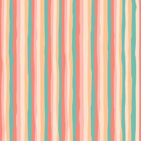 Seamless repeating pattern with hand drawn multicolored wavy stripes with ragged edges Ilustração