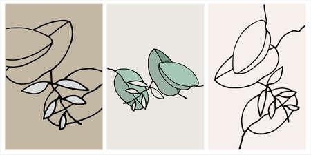 Decor printable art. Set of hand drawn vector illustrations of Eucalyptus leaves Ilustração