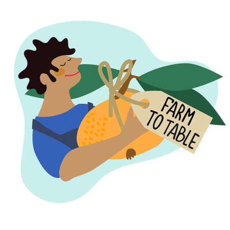 Happy farmer holding giant mandarin with Farm to Table tag. Harvesting, fresh vegetables delivery, trading concepts Ilustração