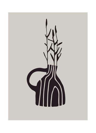 Decor printable art. Hand drawn ceramic vase with Poaceae plants on gray background. Vector illustration Ilustração