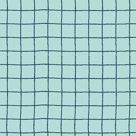 Seamless plaid pattern with hand drawn grid on blue background