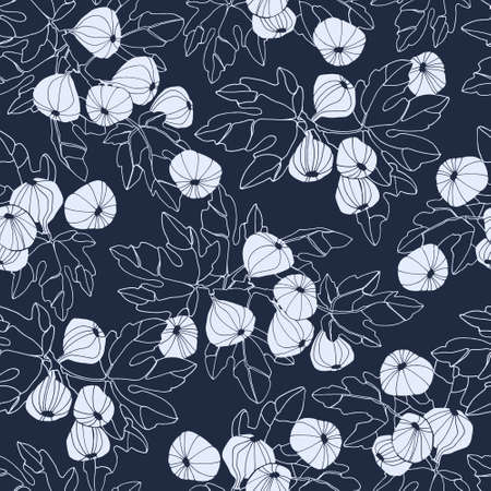 Seamless pattern. Fig tree branches with fruit. Outlined vector illustration
