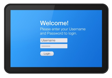 Login procedure entrance on touch screen tablet  photo