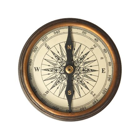 drawing compass: Antique Compass isolated on white. Stock Photo