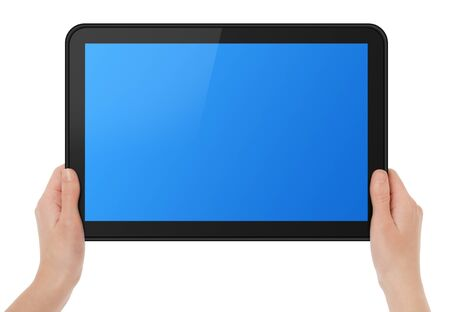 Female hands holding touch screen tablet. Stock Photo - 9332328